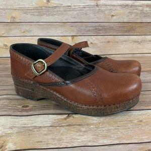 DANSKO 39 8.5 9 Cognac Leather Mary Janes Clogs